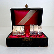 Antique Pair Sterling Silver Boxed Napkin Rings.  Elegant.  European.  Mint Condition.