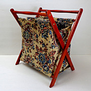 Knitting / Sewing Fold-up Tapestry & Wood Basket.  Charming.  Old.  Mint Condition.