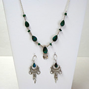 Peruvian Demi-parure. Necklace & Earrings.  Agate & Silver-toned Metal.  Lovely.  Mint condition.