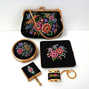 Petit Point Purse & Matching Compact, Cigarette Case, Mini-ashtray,  Lighter & Key Chain..  As New Condition.