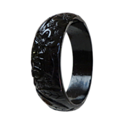 Black Carved Bakelite Bangle. Intricate Florals.