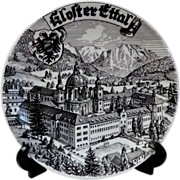 Kloster Ettal Germany.  Souvenir Plate.  Black & White.  Striking.