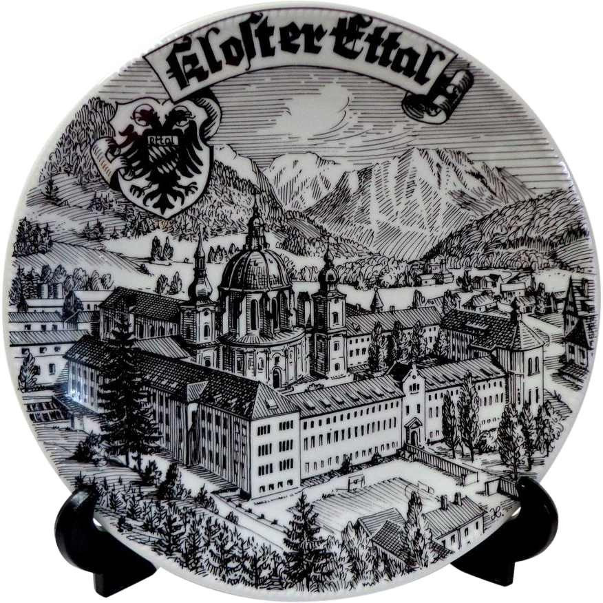 Ettal Germany  city photos : Kloster Ettal Germany. Souvenir Plate. Black & White. Striking. from ...