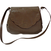 Genuine Leather 1950 Purse.  Olive grey.  Coret. Unusual style.  Mint Condition.
