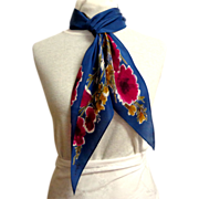 100% Silk Vera Oblong Bias Cut Scarf.  Blue and florals.  Amazing.  Mint Condition.