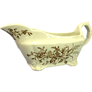Aesthetic Brown Transferware Gravy / Sauce Boat.  Essex Pattern. J & G Meakin, Hanley, England.  Perfect Condition.
