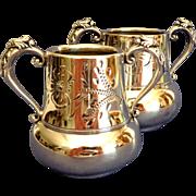Antique Pair Matching Silver Condiment  Pots / Sugar Bowls.  Perfect Condition.