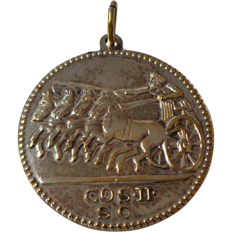 pendant replica ancient coin silver plate from