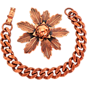 Solid Copper Brooch & Heavy Link Bracelet.  Beautiful ++.  As New Condition.