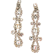 "Spectacular!  4"" long Runway Chandelier Rhinestone Earrings.  Quality construction! Mint condition."