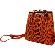 Carlos Falchi Designer Purse.  Embossed Python Reptile.  Incredible As New Condition.  Gorgeous.