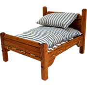 Rope Doll Bed with Mattress & Pillow.  Wooden.  Mattress Ticking.