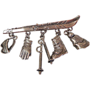 Skiing Brooch.  Old.  Silver Plate.  Detailed.  Charming.  Mint Condition.