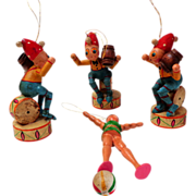 German Painted Wood Christmas Ornaments.  Circus Theme.  V. Old.  Five.