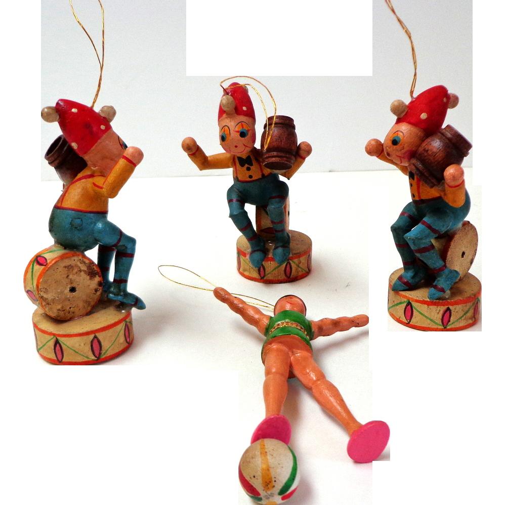German painted wood christmas ornaments circus theme v