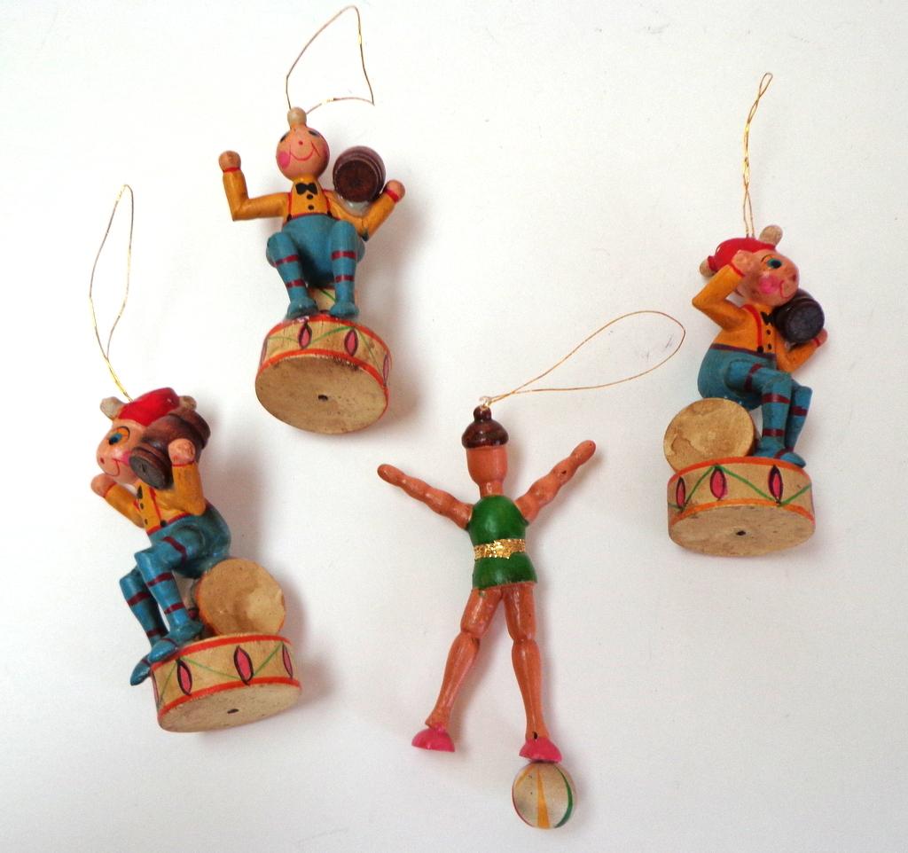 German Painted Wood Christmas Ornaments. Circus Theme. V ...