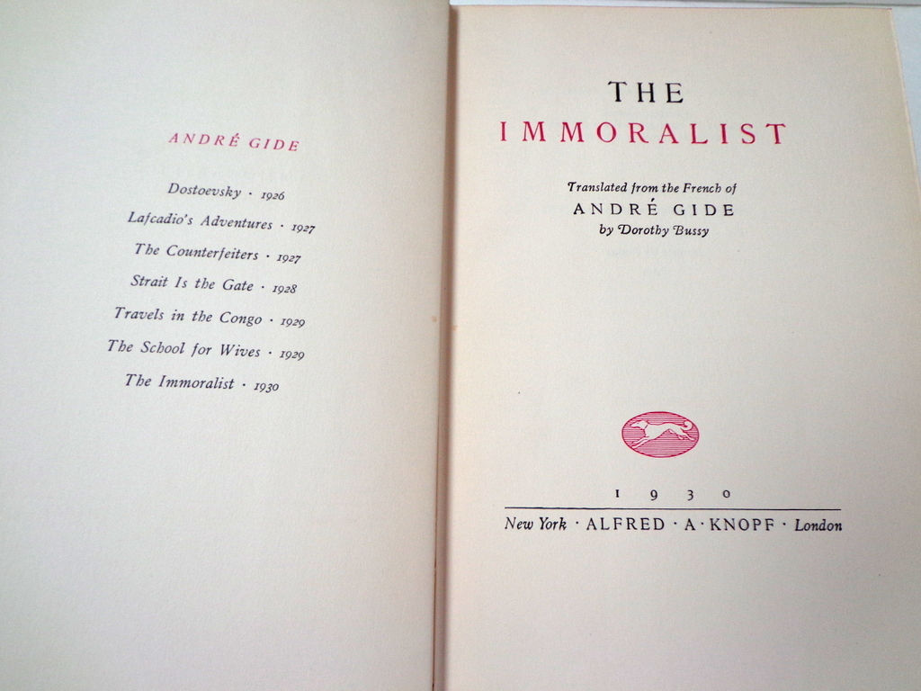 The Immoralist by Andre Gide. 1930. Knopf Publisher. 1st American from ...