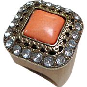 Costume Ring.  Spectacular.  Large. Rhinestones & Wood & Brass.