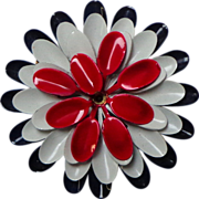 Enameled Flower Brooch.  4 Layers.  Red, White & Blue.  Perfect Condition.
