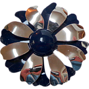 Metal Enamel Flower Brooch.  2 Layers.  Navy & Silver Tone.  Perfect Condition.