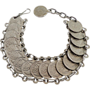 Jewish  Israeli  Coin Link Bracelet.  Unusual.
