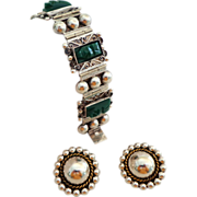 Diaz Santoyo Heavy Sterling Silver & Carved Green Onyx Bracelet and Sterling Earrings.  Mexico.  Unusual.  Striking.