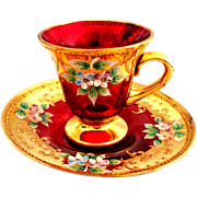 Moser Demitasse Cup and Saucer and Stand.  Cranberry, Gold, Florals.  Beautiful.