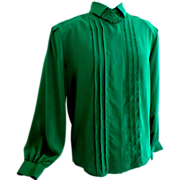 1970's Green Long Sleeved Blouse.  Size 10.