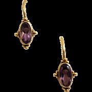 Delicate Etruscan Revival Style Earrings.  Vermeil Settings with  Amethyst.