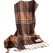 Bamboo Scarf.  Brown Plaid Design.  Gorgeous Hand.  As New Condition.
