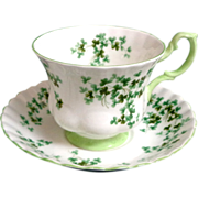 Royal Albert Shamrock Pattern.  Bone China Cup and Saucer.  Mint Condition.