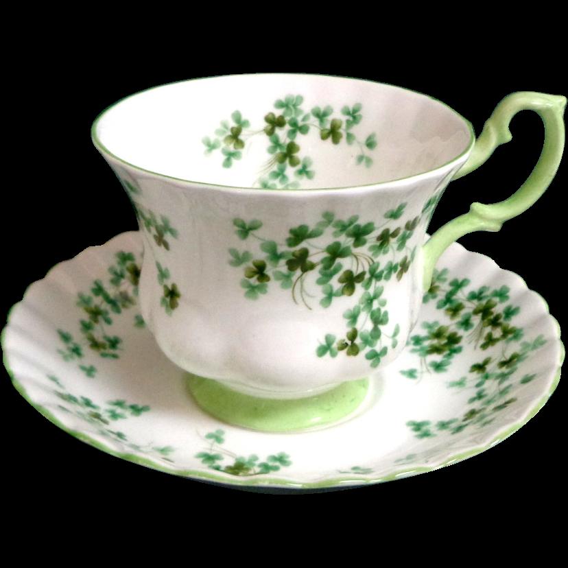 Royal Albert Shamrock Pattern Bone China Cup And Saucer
