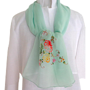 100% China Silk Chiffon Hand Embroidered Scarf.  Mint Green.  Exquisite.  As New Condition.