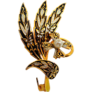 Damascene Brooch with Pearl Flower Accent.  Perfect Condition.