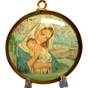 Convex Glass. Brass Framed Circle.  Madonna and Child.