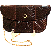 Eel Skin / Eelskin Leather Purse.  Convertible Clutch.  Chocolate Brown.  Mint Condition.