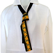 1965 Necktie.  Lady's.  German.  Black and Brocade.  As New Condition.
