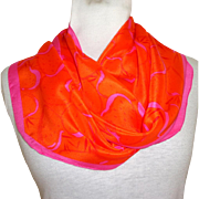 100% Silk Anne Klein for Vera  Scarf.  Oblong. Bias Cut.  Orange and Pink.  As New Condition.