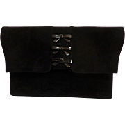 Charles Jourdan Designer Purse.  Clutch.  Genuine Suede and Patent Leather.  Black. - Red Tag Sale Item