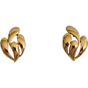 Trifari Earrings.  Pierced.  Gold Plumes.  Classic Elegance.  As New Condition.