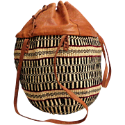 Raffia and  Leather Tote.  Very Large.  Drawstring Top Closure.  Long Straps.