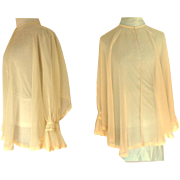 1930-40 Silk Chiffon Bed Jacket.  Cream. Beautiful  Clever Design.  Mint Condition.