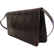 Genuine Lizard Convertible Clutch / Shoulder Purse with Matching Belt.  Brown.