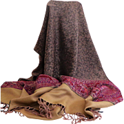 Pashmina / Shawl.  Tan, Wine, Black.  Paisley designs. Absolutely beautiful ++.  As New Condition.
