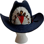 Biltmore Western / Cowboy Hat. Stetson.  Dark Blue with Fancy Feather Band.  Made in Canada.  Quality ++.  As New Condition.