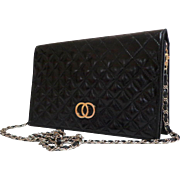 Classic Styling Black EELSKIN Purse.  Convertible to Clutch.  Quality ++.  Good Condition.