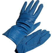 Genuine Leather Teal Blue Gloves.  Size 7 ½.  Lined.  MWT.  New Condition.