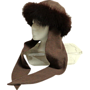 Genuine Fox Fur and Wool Hat with Ties.  Olive green and Brown.  Fashionable and Warm.
