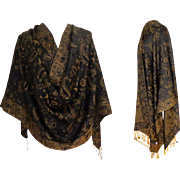 Pashmina.  Silk & Pashmina.  Chocolate Brown and Old Gold.   Large. Luxurious ++.  As New Condition.