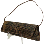 Genuine Leather DANIER Convertible Clutch / Handbag.  Brown Embossed Crocodile Design.  As New Condition.
